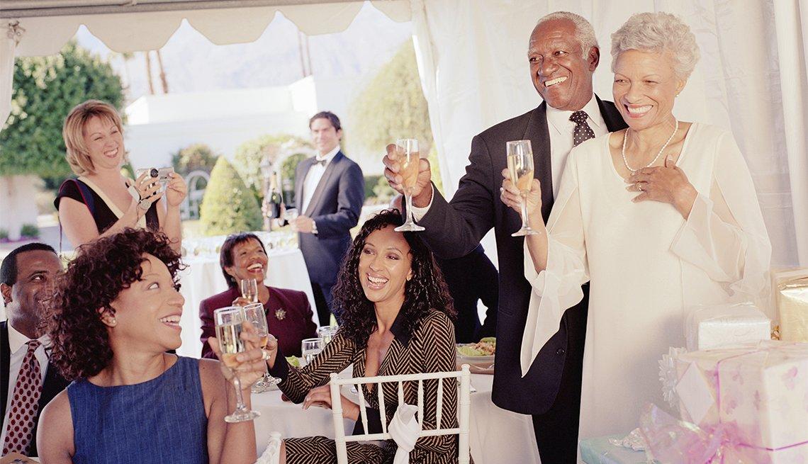 African American couple, wedding toast