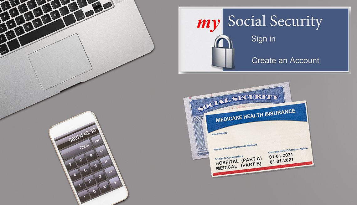 illustrated display of laptop computer, social security and medicare cards, calculator and a close up of the sign in screen a my social security account