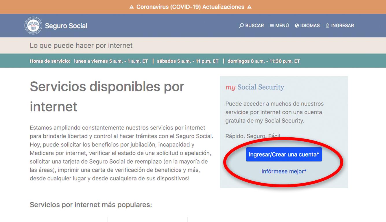 Captura de pantalla que subraya el botón para abrir la cuenta en línea del Seguro Social.