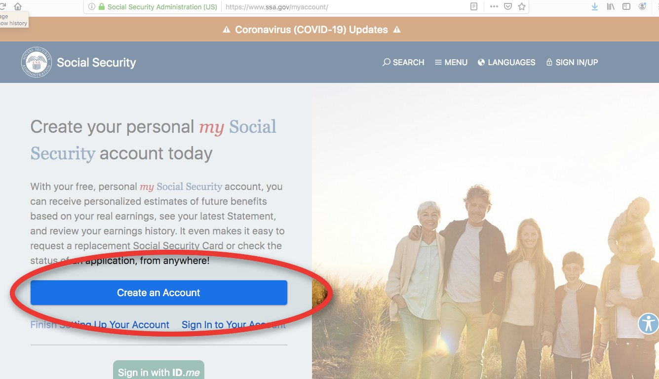 social security administration web page that highlights the button to create a my social security account