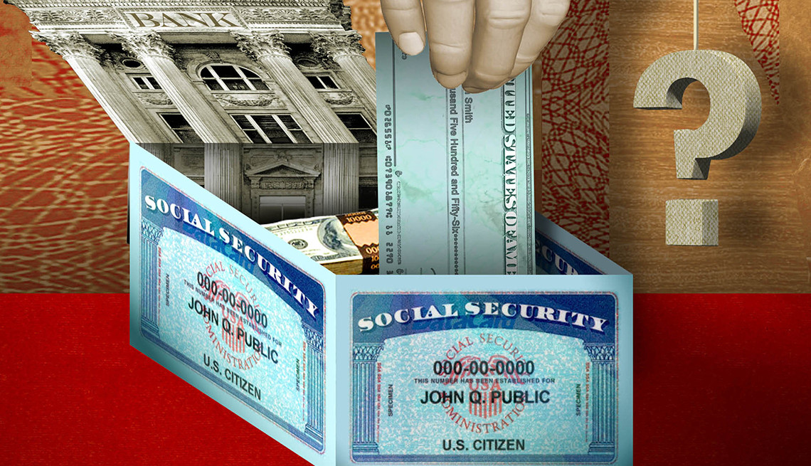 a colorful illustration of Uncle Sam's hand holding a check, a bank building, social security cards and question marks