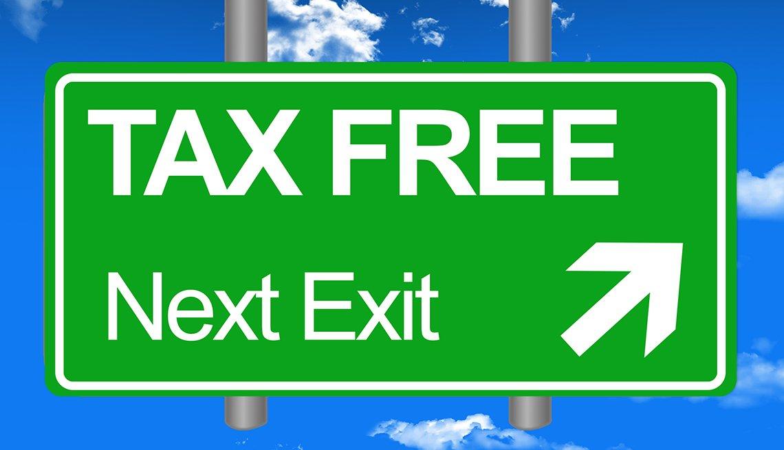 Ilustración de una señal de carretera que dice en inglés libre de impuestos, siguiente salida.