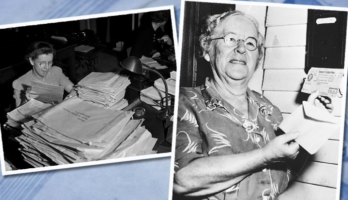 item 2 of Gallery image collage of two images first a woman processes stacks of old age insurance applications and second ida fuller the first recipient of social security holds her check