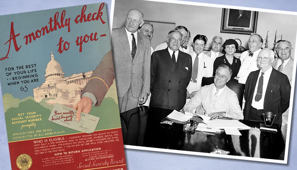 item 1 of Gallery image - Franklin Delano Roosevelt firma la ley del Seguro Social, 1935