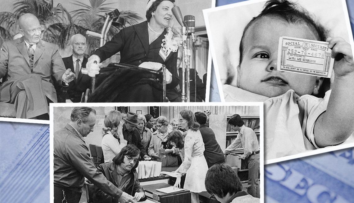 item 3 of Gallery image - El presidente Eisenhower, la bebé Laura Lee Kimbrough sosteniendo su tarjeta del Seguro Social, y un hombre ayudando a su hijo a llenar una solicitud.