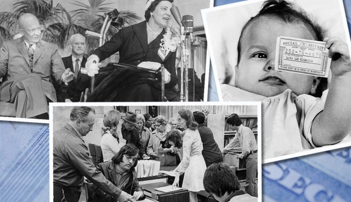 item 3 of Gallery image image collage of president eisenhower attending a meeting of handicapped people a baby holding a social security card and a man helping his adult son fill out a social security application