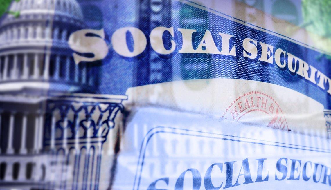 layered closeup photos of Social Security cards, the US capitol and money