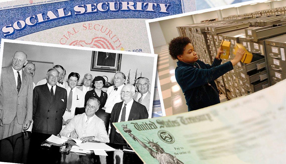 Varias imágenes que muestran la evolución del Seguro Social desde 1935.
