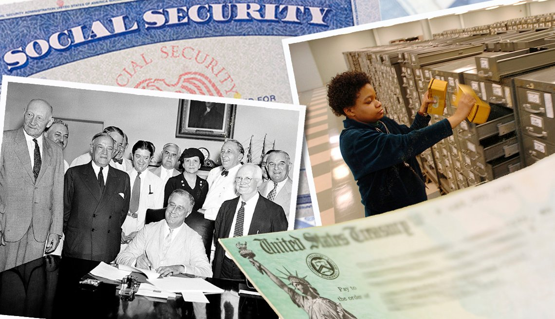 collage of photos illustrating a few events and eras in the evolution of social security since it was signed in to law in 1935