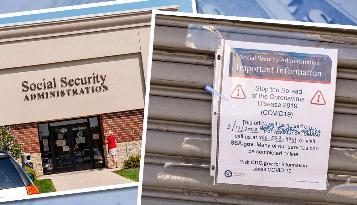 front of a social security administration building and a sign taped to another office front announcing closure due to covid nineteen