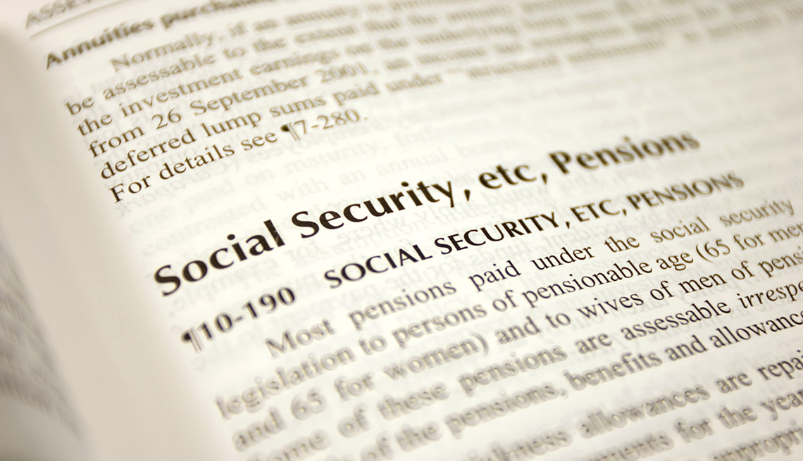 close up of an opened book  turned to a page about Social Security