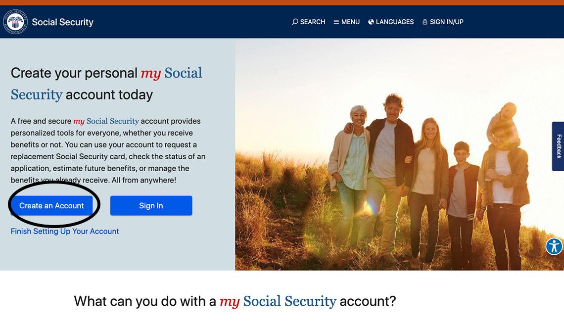 Toma de pantalla de la página web del Seguro Social que resalta el botón, Crear una cuenta.