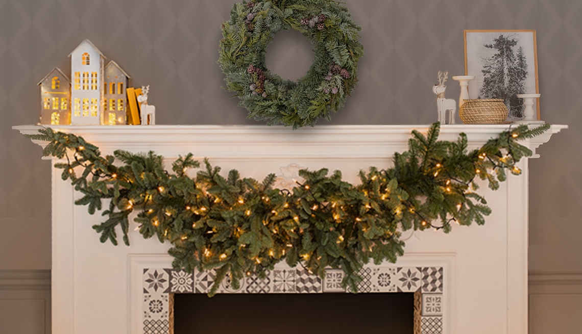 seasonally decorated fireplace