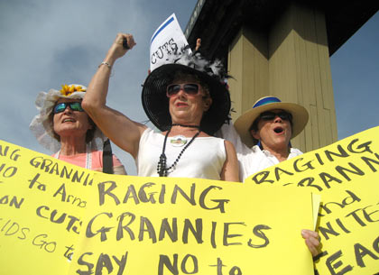 raging grannies picketing