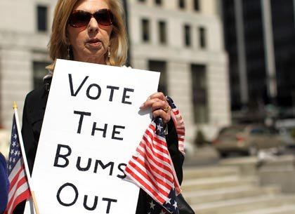 frustrated voter with sign