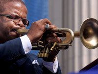 Musician Terence Blanchard performing on his trumpet