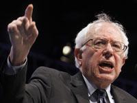 U.S. Sen. Bernie Sanders, I-VT, gestures as he speaks at the Californi Democrats State Convention in Sacramento, Calif., Saturday, April 30, 2011.