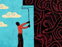 Man wallpapering blue sky over snake pit - 5 ways older Americans can help create more civility in our culture