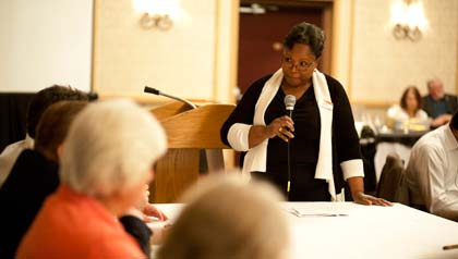 Gayle Deadwyler and other AARP volunteers receive training to facilitate You�ve Earned a Say sessions.