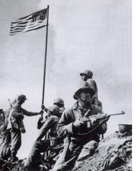 Charles Lindberg at the Iwo Jima flag raising