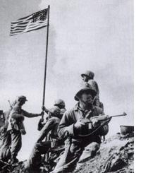 Charles Lindberg at the Iwo Jima flag raising