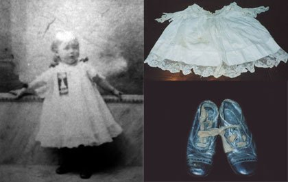Adella Wotherspoon as infant with dress and shoes