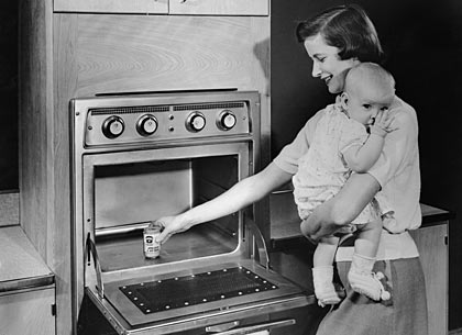 mother, first microwave oven, 1955