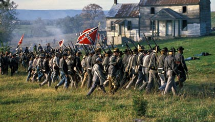 Civil War battle reenactment at Cedar Creek, Va