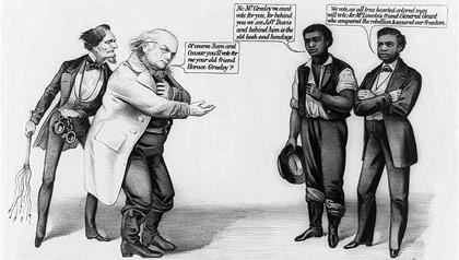 Caricatura política de Currier & Ives muestra a Horace Greeley, director de periódico y abolicionista, y a Jefferson Davis, el líder de la Confederación durante la Guerra Civil.