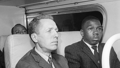 Charles Persons (right) on Freedom Riders bus 1961.