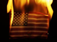 American flag on fire.