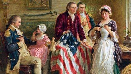Ilustración de Betsy Ross en 1777 qdonde le enseña al Mayor Ross y Robert Morris cómo cortar las estrellas de la bandera de Estados Unidos, con George Washington a la izquierda. Pantalla de impresión por J.L.G. Ferris, c. 1920.