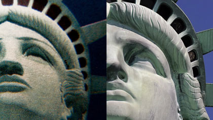 Side by side comparison of the Statue of Liberty postage stamp mistakenly based on the scaled-down replica at the New York, New York Hotel in Las Vegas, Nevada and the real statue, discussed by Terry McCaffrey.