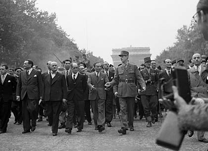General Charles de Gaulle marches down the Champs Élysées Paris 1945