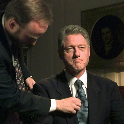 President Bill Clinton prepares for a televised address after testifying about Monica Lewinksy 1998