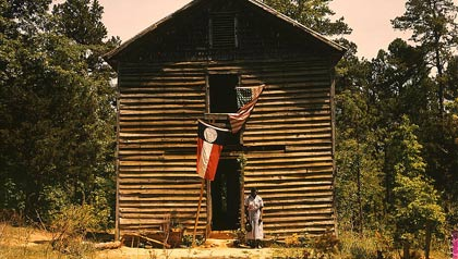 An unidentified Negro woman stands  in front of a building with the Georgia State flag and the United States flag.