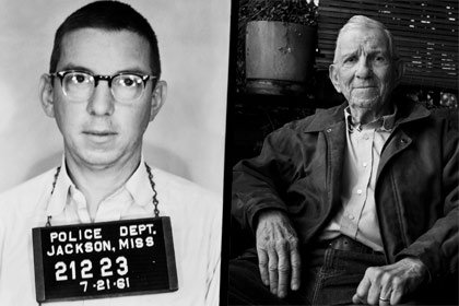 Left: Police photo of Charles Sellers in 1961; right: Sellers in 2007