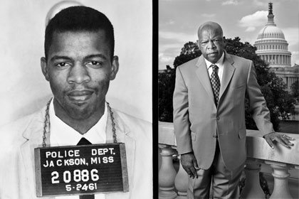 Left: Police photo of John Lewis in 1961; right: Lewis in 2007