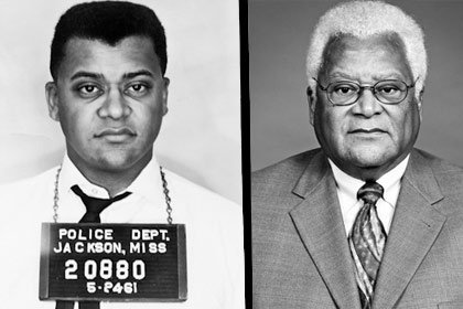 Left: Police photo of James Lawson Jr. in 1961; right: Lawson in 2005