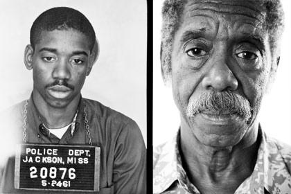 Left: Police photo of Matthew Walker Jr. in 1961; right: Walker in 2007