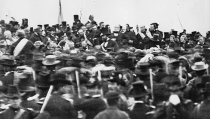 November 19, 1863 photograph of Lincoln getting up to give the Gettysburg address.