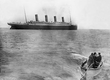 The Titanic departs from Queenstown, Ireland, its final port.