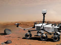 El robot Curiosity examina una roca en Marte con un conjunto de herramientas en el extremo del brazo del robot - Columna de Carlos Verdecia