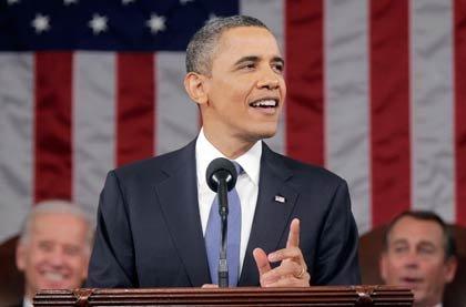 El presidente Barack Obama ante el Congreso, mientras da su discurso del Estado de la Unión el 25 de enero 2011 en Washington, DC.
