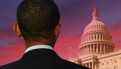 Presidente Obama mirando al capitolio