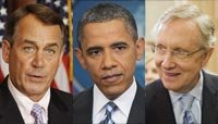 House Speaker John Boehner (R-OH), President Barack Obama, Senate Majority Leader Harry Reid, D-Nev.