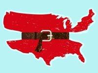 Mapa de los Estados Unidos con un cinturon apretado - Plan de recortes de Obama para el presupuesto