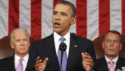 President Barack Obama addresses a joint session of Congress about jobs in Washington, September 8, 2011.