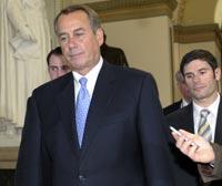 Speaker John Boehner walks to vote on payroll tax cut bill on December 20, 2011.
