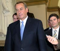 Speaker John Boehner walks to vote on payroll tax cut bill on December 20, 2011.